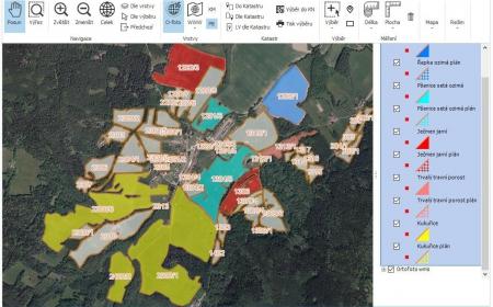 hospodářská mapa a letecký snímek
